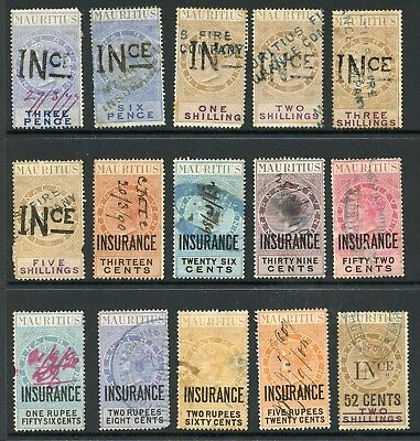Mauritius INSURANCE handstamped & overprinted revenue collection provisional