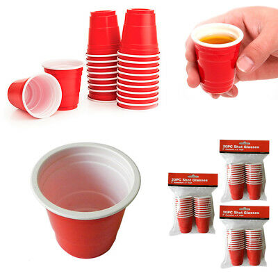 40 Mini Red Cups Plastic 2oz Shot Glasses College Party Disposable