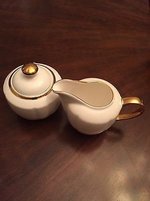 Grace's Teaware Creamer & Sugar Bowl -white And Gold -New Free Shipping