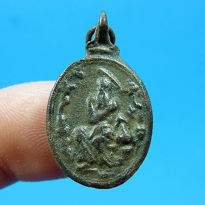 Antique Catholic St Jerome & Our Lady Of Guadalupe Medal 17Th Century Pendant