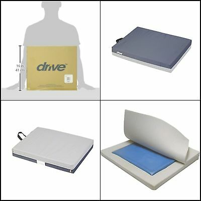 Deluxe Gel Seat Cushion Pad For Wheelchair Skin Protection E 3 Deluxe 18x16x3""