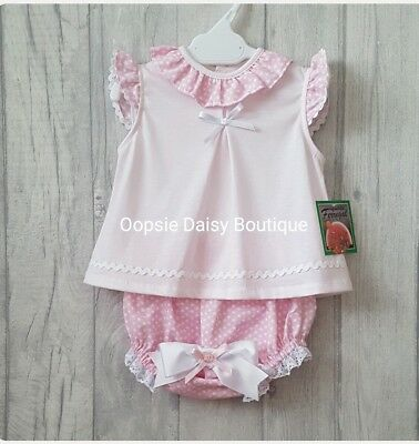 SALE - Baby Girls Gorgeous Pink Spanish Ribbon Jam Pants Set Pretty Frill Collar