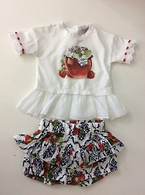 MONNALISA Baby Girls Outfit, Set, Shorts And Top Size Age 18 Months, White