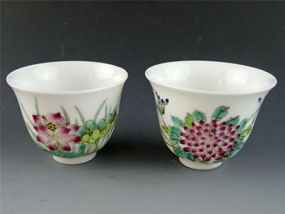 Chinese Republic Era Pair of Wine Cups; Hand Painted Floral Motif Wan Yu Mark 玩玉