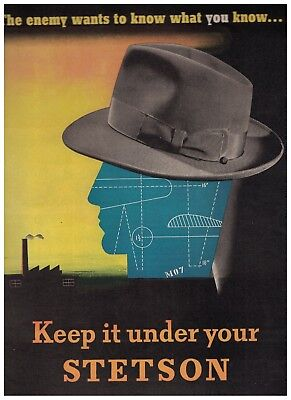 The Enemy Wants To Know What You Know 1943 Keep It Under Your Stetson Ad