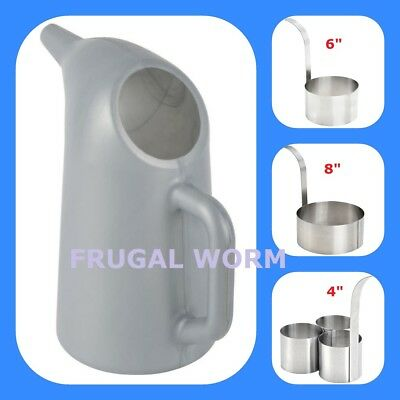 Funnel Cake Fryer Stainless Steel Mold Rings and Batter Pouring Pitcher SET