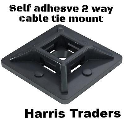 1ac799ca0ddd 100 x Cable Tie Base Self Adhesive 2 Way Cable Ties Mount With Screw Hole 28