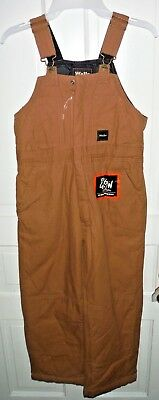 Walls Boys' Insulated Quilted Bib Pants Sz Large 10-12 Brown