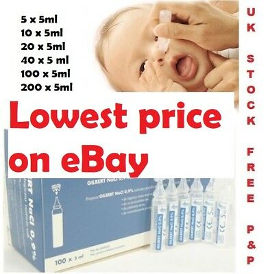 BABY STERILE SALINE SOLUTION NaCl NASAL NEBULISER 5ML PODS FIRST AID EYEWASH