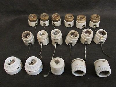 1 Antique Medium Base Two Piece Screw Top Switched Porcelain Light Socket Switch