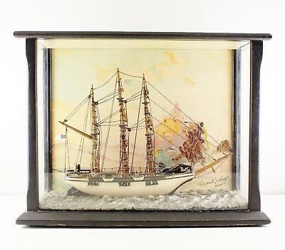 Antique Ship Diorama 1938 Signed Hand Painted Background Tillamook lighthouse