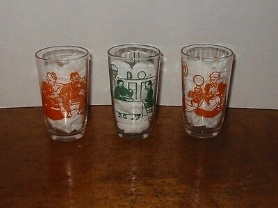 3 Vintage Swanky Swigs Glass Tumblers Bustling Betsy Victorian Man Woman Cat