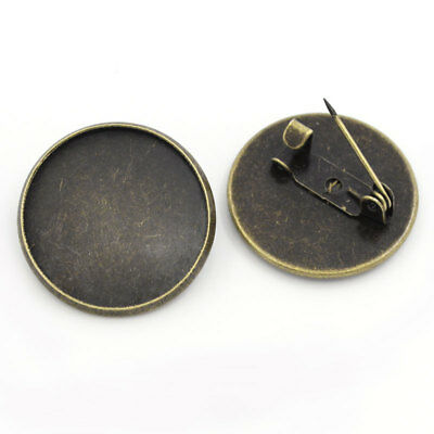 Pack of 10 Bronze Pin Brooches with 20 mm Base Brooch Blanks Brooch components