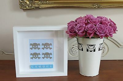 Personalised Skulls New Baby/ Christening/ Pirate Themed Boys Bedroom In Frame