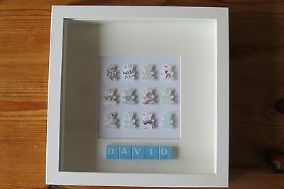 Personalised Picture Teddies New Baby/ Christening /nursery In 3D Box Frame Gift