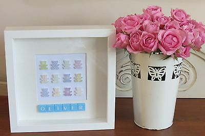 Personalised Picture Teddies New Baby/ Christening/ Nursery In 3D Frame Fab Gift
