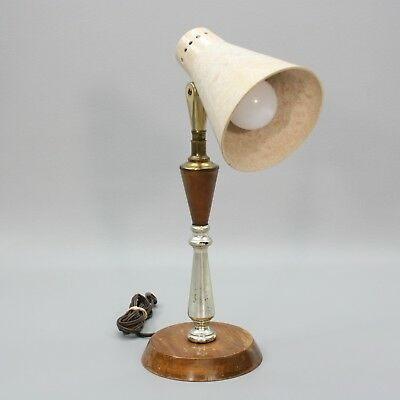 Vtg Mid-Century Desk Table Lamp Cone Bullet Shade Industrial Adjustable Light