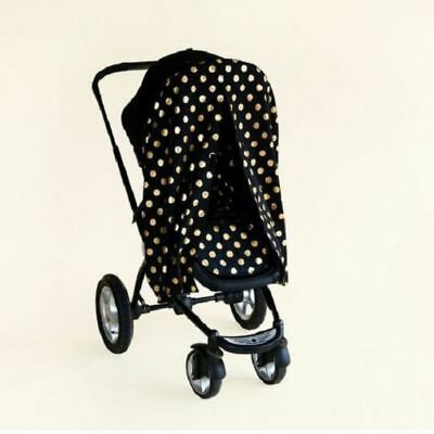 Bambella Stroller Cover Privacy Curtain Weather Sun Protector  Polka Black/Gold
