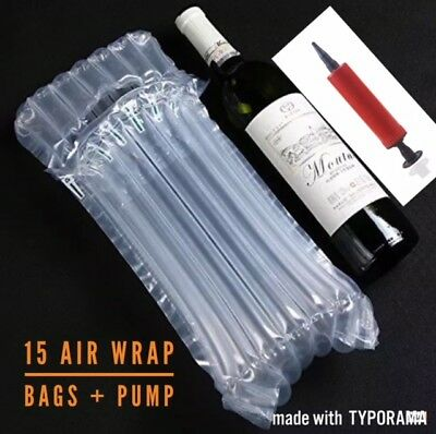 💙💙15 x INFLATABLE AIR PACKAGING BUBBLE PACK WRAP BAG FOR WINE BOTTLE💙💙
