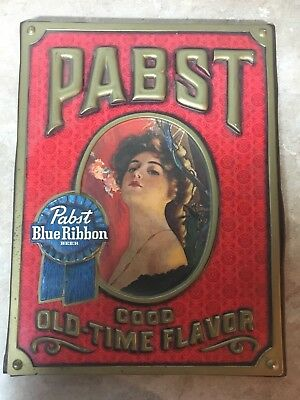 "Pabst Blue Ribbon Beer 3D Sign-Victorian Woman-14""x19""-PBR-Vintage Advertising"