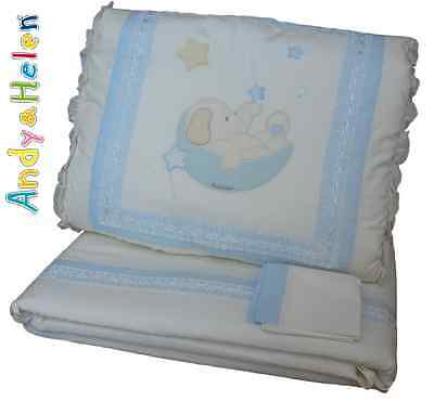 Quilt Crib Piumotto extractable Embroidered+Cot bumpers + pillowcase. ANDY&HELEN