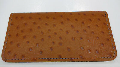 Bay State Exclusive Tan Ostrich Pattern Cowhide Leather C.Book Cover-Made In USA