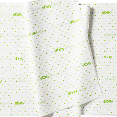 "eBay Branded Green Polka Dot Tissue Paper 20"" x 30"" Lot of 25 Sheets - NEW!"