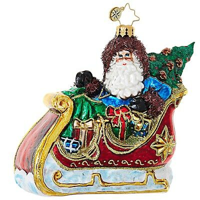 Christopher Radko 1019074 Sliding Into Christmas - Santa In Sleigh Ornament
