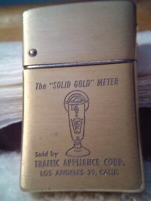 Vintage Brown Bigelow Remembrance Wind Master Gold Tone Advertising Lighter USA