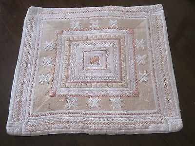 Vintage Hand Worked Unusual Pink Embroidered Cushion