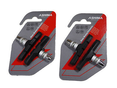 ASHIMA BICYCLE V-BRAKE PADS BLACK 70mm  2 x Packs OF 2 MTB, Road, City Bike