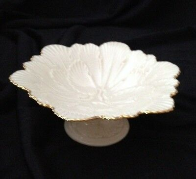 Lenox Arbor Collection Footed Pedestal 6-Sided Candy Dish/Compote 14K Gold Trim