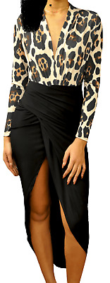 John Zack  Plunge V Front Wrap Black  Maxi Dress With  Leopard Print Top
