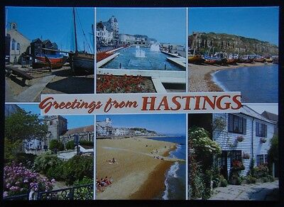 Greetings from Hastings East Sussex Net Lofts Old Town Beach Postcard (P241)