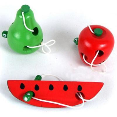 Wooden Worm Eat Fruit Kid Child Infant Baby Early Educational Puzzle Game Toys G