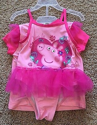 NWT Girls Pink Peppa Pig Rashguard Swimsuit Set 2T
