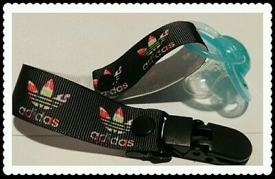 *Hand-Made Black & Rainbow* Dummy/ Pacifier/Toy Clip/Chain