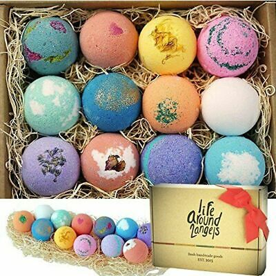 LifeAround2Angels Bath Bombs Gift Set 12 USA made Fizzies, Shea & Coco Butter