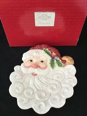NEW! Fitz & Floyd Christmas Santa Canape Plate Swirling Beard FREE SHIPPING!!!
