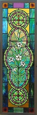 Antique American Floral Stained Glass Window