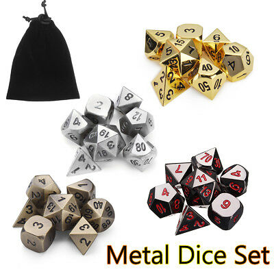 7Pcs/Set Embossed Antique Metal Polyhedral Dice Role Playing Game Party W/ Bag
