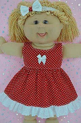 """Play n Wear Doll Clothes For 16"""" Cabbage Patch RED POLKA DOT DRESS~HEADBAND"""
