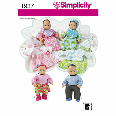 """Simplicity Sewing Pattern 1937 Dolls Clothes Layette  to fit approx 15"""" 38cm"""