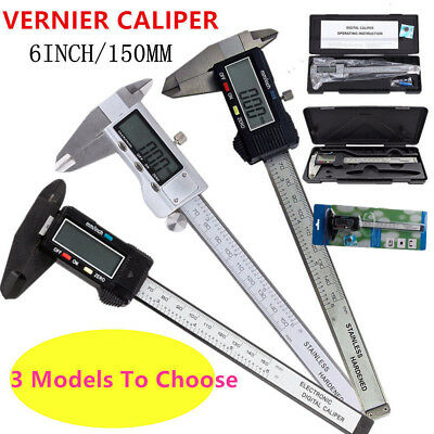 "LCD 6""150mm Stainless Digital Vernier Caliper Micrometer Measure Electronic Tool"