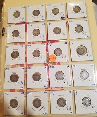20 Barber Dimes, Mixed Lot, 5642