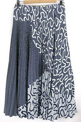Vintage 1990s Navy Blue White Swirls & Spots Pleated Skirt 12-14