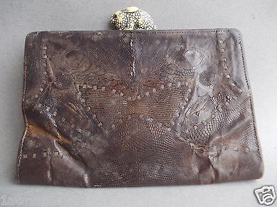 Antique 1930s ladies evening bag, snake skin with bunny