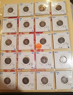 20 Barber Dimes, Mixed Lot, 5643