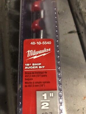 "milwaukee 48-13-5540 1/2""X18"" Ship auger Bit"