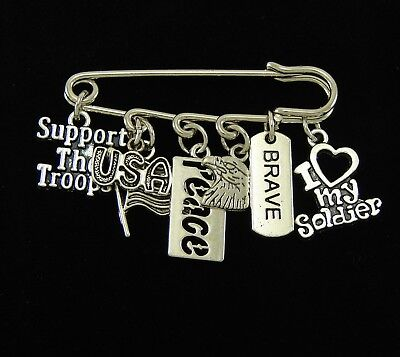 USA MILITARY BROOCHES Freedom is Not Free ARMY NAVY, LOVE MY SOLDIER, 10 CHOICES